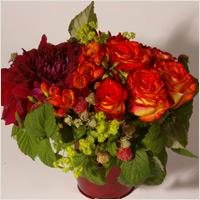 Composition de fleurs rouge et orange  : Aube - fleurs rouge-orangées piquées dans un contenant assorti
